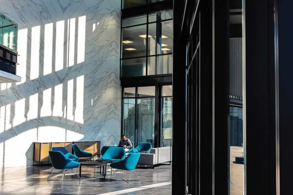 Interior design for work space ergonomic efficiency - BarloWorld Reception